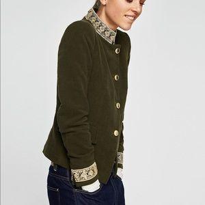 ZARA | Army Green Blazer w Gold Detail